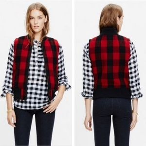 Madewell Buffalo Red and Black Plaid Sherpa Vest
